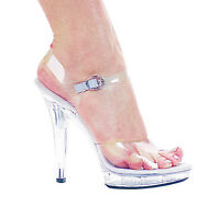 Clear Sandals Lucite Bottom Open Toe 5 Heels Ankle Strap Sizes 5-12 M-brook