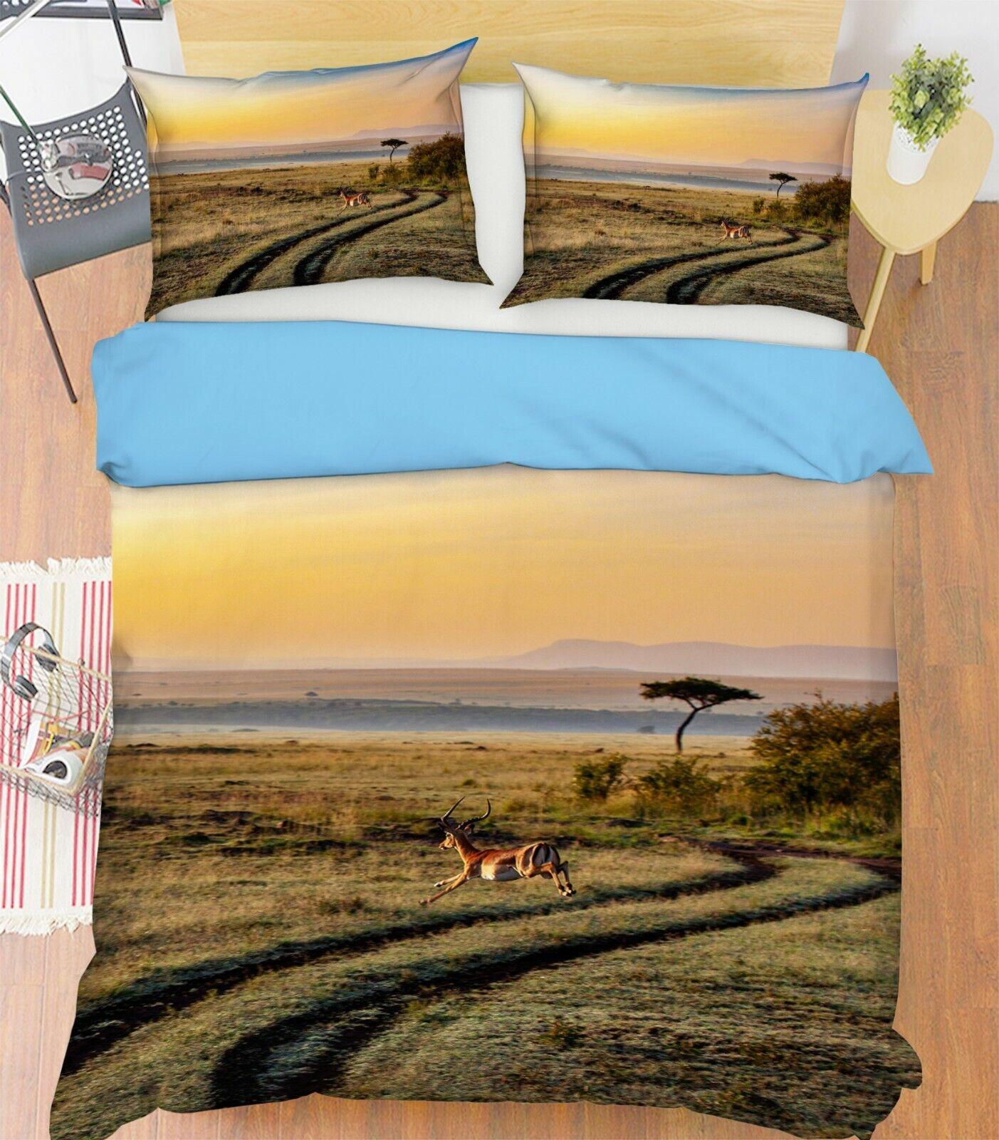 3D Grassland Antelope I39 Animal Bett Pillowcases Quilt Duvet Startseite Königin König An