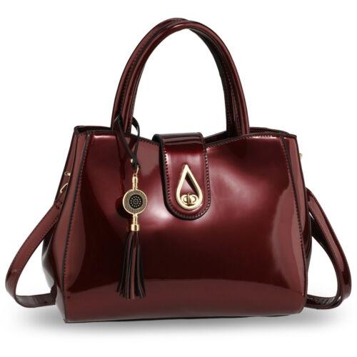 Ladies Designer Patent Faux Leather Bag Womens Fashion Style Shoulder Handbags