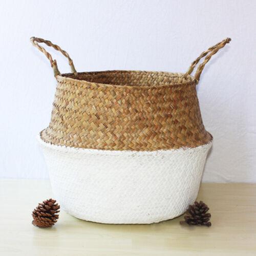 Storage Basket Rattan Straw Wicker Flower Pot Seagrasss Garden Plant Folding Hot