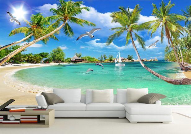 3D Kokospalmen Der Strand4 Fototapeten Wandbild Fototapete BildTapete Familie DE