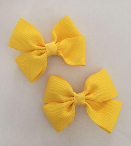 2 Packs de Jaune Beurre Big Bow cheveux clips//aligator clip//écoles uniforme