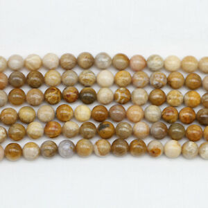 1strandlot Natural Stone Brown Crazy Lace Agat Bead Round Loose Spacer Beads For Jewelry Making Findings DIY Bracelet Necklace