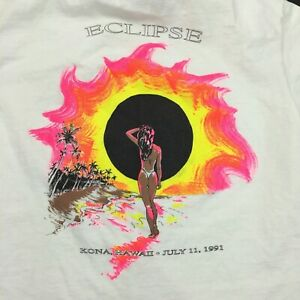 Vintage-T-Shirt-1991-Kona-Hawaii-SOLAR-ECLIPSE-2-sided-single-stitch-derelict