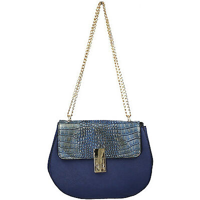 SWANKYSWANS® Womens Ladies Denim Lace Fau Leather Crossbody Bag Satchel Handbag