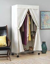Premium Closet Wardrobe Garment Rack Cover Protector Closure - 100% Canvas White
