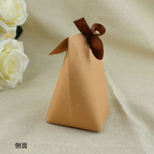 50//100PCS Kraft Paper Square Chocolate Candy Gift Boxes Wedding Party Favor Box