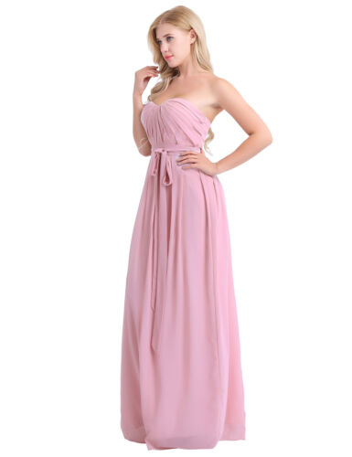 Women/'s Strapless Pleated Chiffon Bridesmaid Party Dress Evening Dresses Gown