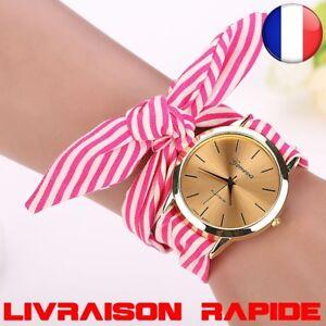 Montre-Floral-Tissu-Horloge-Cadran-Bracelet-Quartz-Femme-Idee-Cadeau-Bijoux-Mode