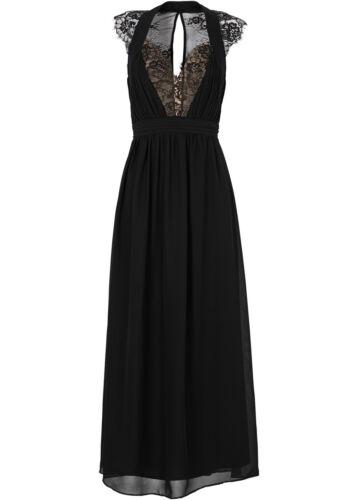 Elegante vestido con encaje en negro-talla 42-q2670 - 969536