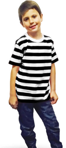 Boys Girls Children's Kids Unisex Black White Striped T-shirt Halloween Outfit