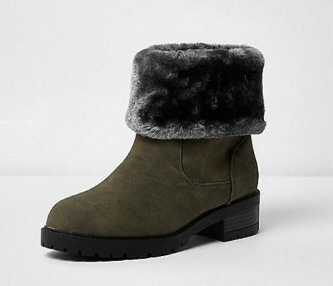 RIVER ISLAND ANKLE BOOT SUEDE LIKE GREY FAUX FUR CUFF KHAKI MILITARY RRP