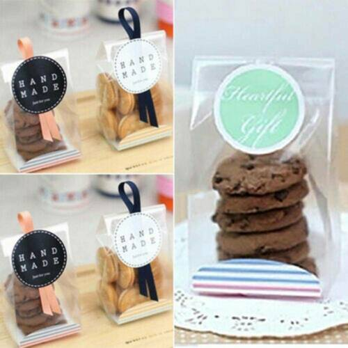 10//20//50pcs Cookies Candy Cellophane With Gusset Wedding Sweet Xmas Party Bags d