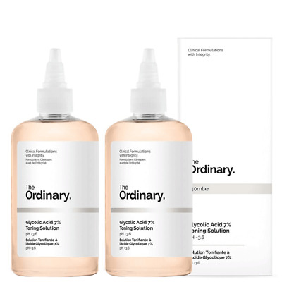 NEW The Ordinary Glycolic Acid 7% Toning Solution [Double Pack] 2 x 240ml Womens