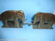 25098 alte Buchstützen Elefant Bookends Messing brass vintage 13 cm