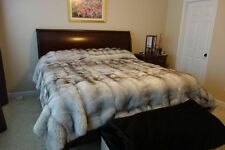 BLUE FOX NATURAL FULL SKINS BLANKET BEDSPREAD THROW COVER COAT NEIMAN QUALITY!!
