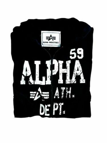 Alpha Industries Hommes Capuche Veste Athletic Dept Hooded Jacket Black Zip 5338