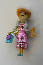 Christmas Decoration - 1 Hanging Real glass Pink Glamour Cat Xmas tree ornament