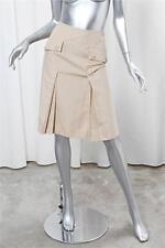 CHANEL Khaki Beige Cotton Pleated A-Line Big Pocket Knee Length Skirt 34 NEW