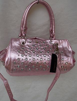 New Women's Ohh Ashley Italian Milled Leather Satchel Stones Studs Pink Foil