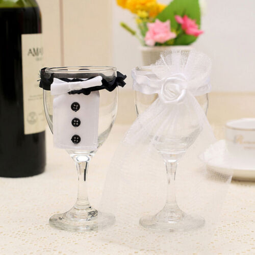 2016  Wedding Toasting Wine Glass Decoration Bride Groom Tux Dress PartRKCA
