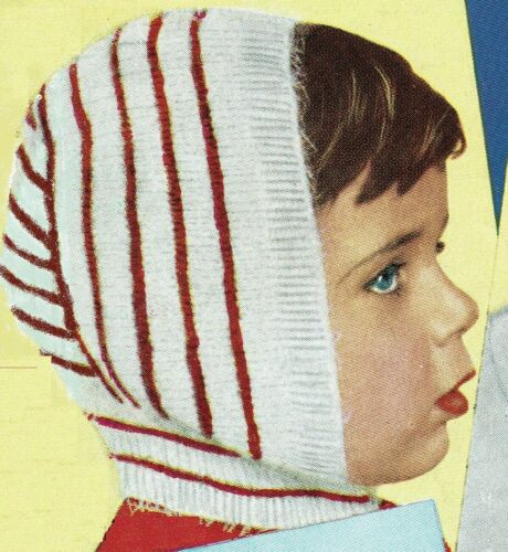 Knitting pattern. balaclava Bunting ribbed Baby Bonnets pixie