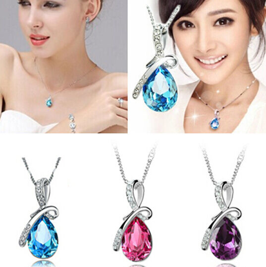 Chic Waterdrop Pear Rhinestone Crystal Tears Necklace Pendant Wedding party JT12