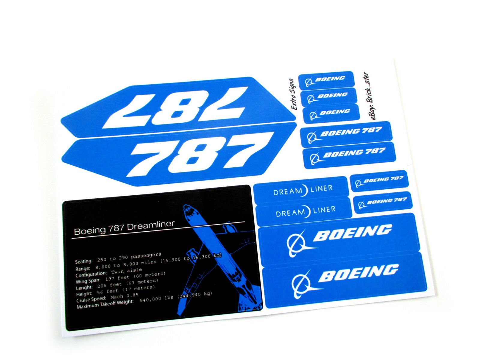 Custom Stickers for Lego 10177 Boeing 787 Dreamliner - Pre-cut