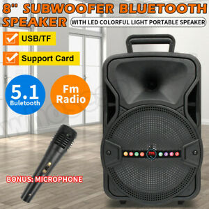 """8"""" 1000W FM Bluetooth Speaker Subwoofer Heavy Bass Sound System Party Portable"""