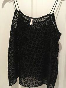 4a2de03c27d6bf Image is loading Ladies-Topshop-Black-Velvet-Cami-Top-Size-10