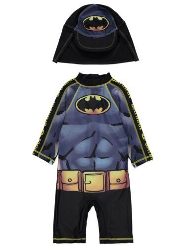Boys Marvel Swimsuit with Hat UV40 Sunsafe Protection Surfsuit Batman NEW BNWT