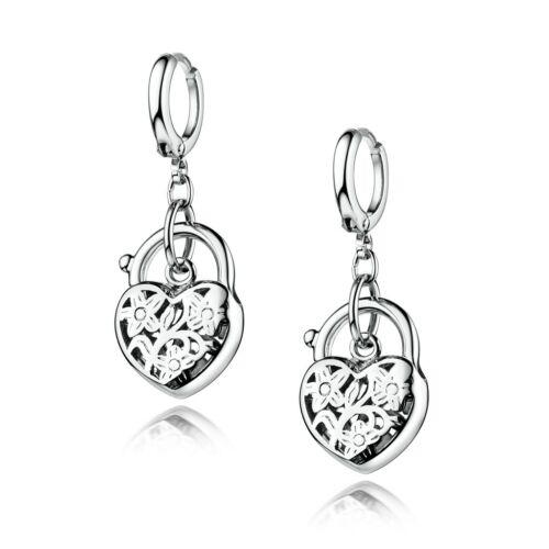 Fashion Silver Gold Filled Heart Shape Lock Hollow Dangle Drop Earrings Women