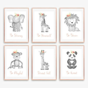 Gris-amp-Rose-Blush-Floral-Boho-Animal-Baby-Nursery-Empreintes-Enfants-Chambre-a-Coucher-Decor