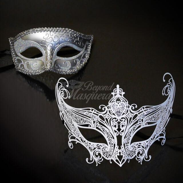 Couple Masquerade Mask Set M7142 M6107 Couples Masquerade Silver