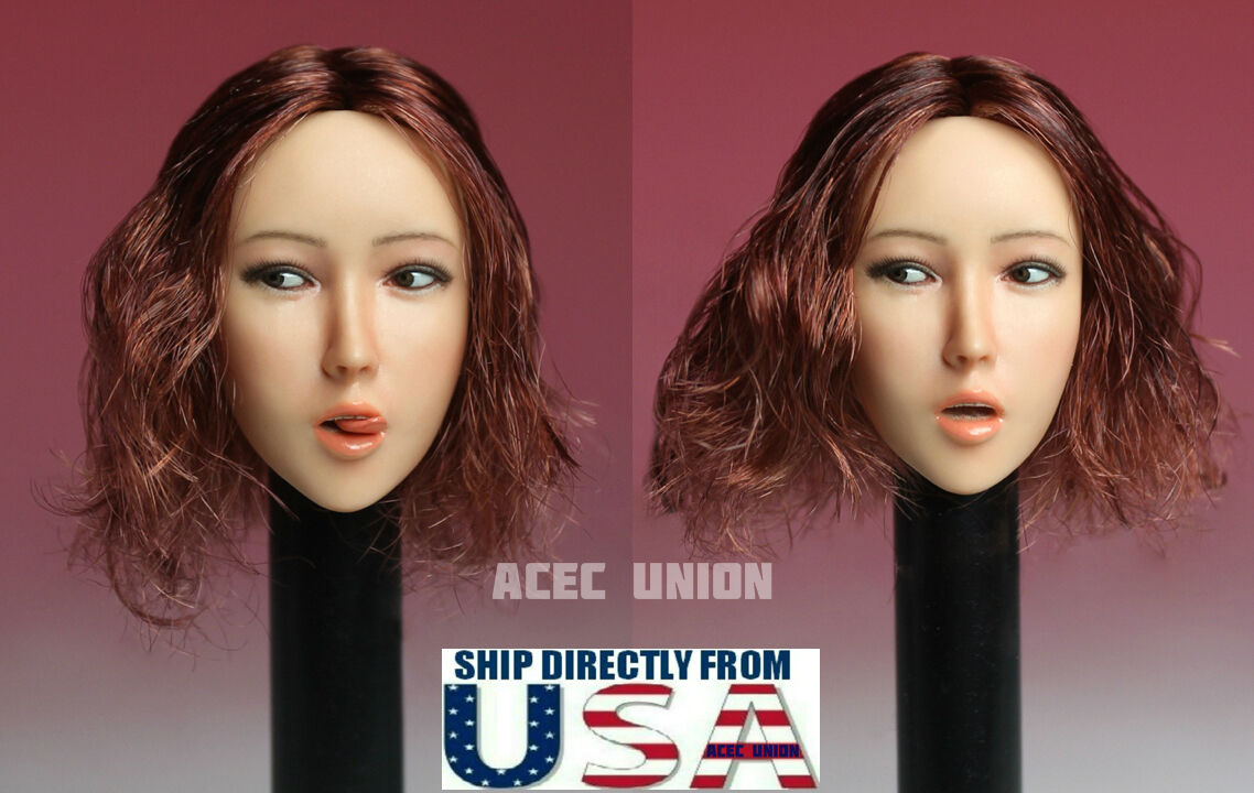 1 6 Female Head Sculpt with Tongue Short Hair For 12  Hot Toys Phicen Figure USA