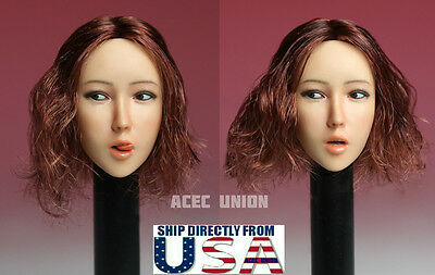 1//6 Female Head Sculpt with Tongue Short Hair For Phicen Figure SHIP FROM USA