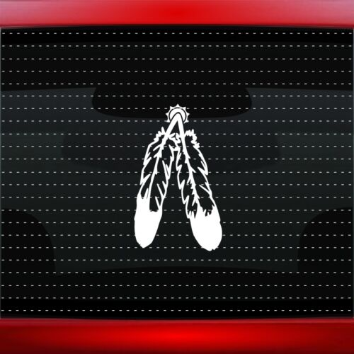 20 COLORS! Feather #4 Native American Car Decal Window Sticker Wolf Bear Paw