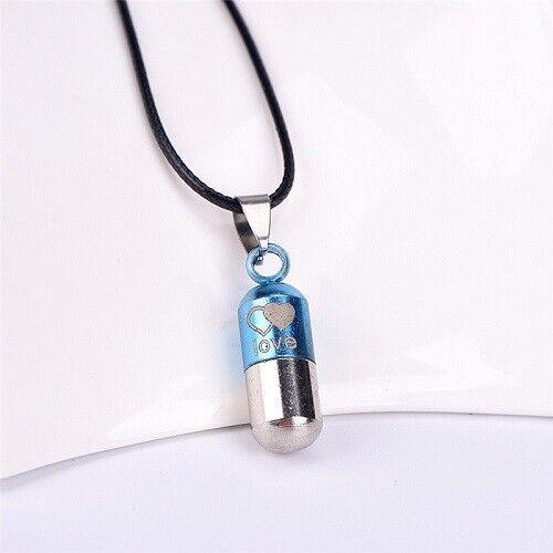 Metal Pill Shaped Urn Cremation Pendant Necklace Ash Holder Love GENUINE UK
