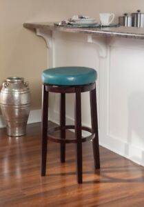 Phenomenal Details About Teal Blue Aqua Counter Bar Stool Backless Round Swivel Seat Faux Leather Gmtry Best Dining Table And Chair Ideas Images Gmtryco