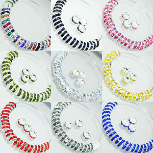 Wholesal-100PCS-Silver-Plated-Rondelle-Crystal-Rhinestone-Beads-Spacer4-6-8-10mm