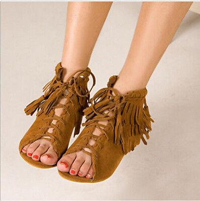 Vintage Tassel Sandal Boots Womens Flat Fringe Roman Faux Suede Lace up Shoes Sz