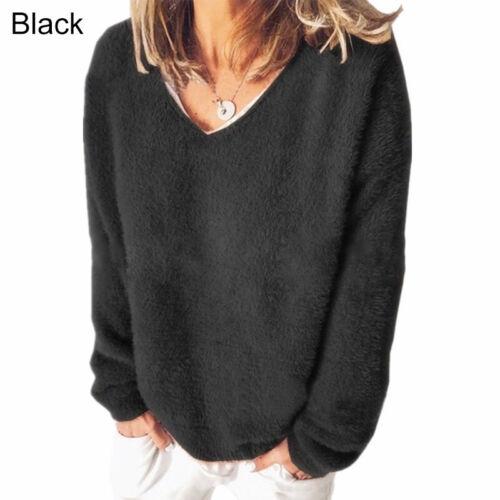 Women/'s Long Sleeve Plush Casual Loose Autumn Winter Sweatshirts Tops Pullovers