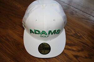 ADAMS-NEW-ERA-59-50-FITTED-GOLF-HAT-CAP-SUPER-S-LOGO-SIZE-7-White-Green-logo