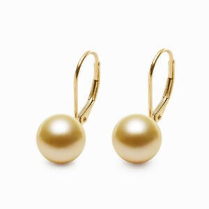Classic 8.5-9MM Round Golden South Sea Pearl Earrings 14K Yellow Gold Leverback