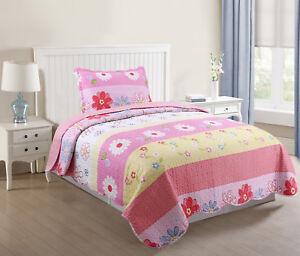 Kids-Bedspread-Quilts-Set-Throw-Blanket-for-Teens-Boys-Girls-Bedding-Pink-Stripe