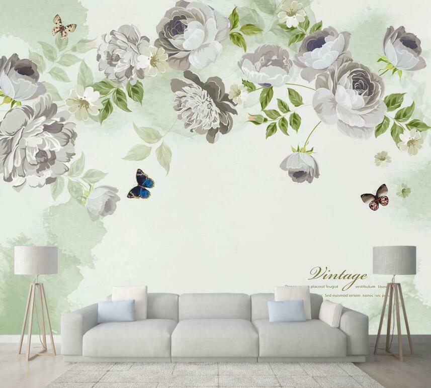 3D Flower Background I1300 Wallpaper Mural Sefl-adhesive Removable Sticker Wendy