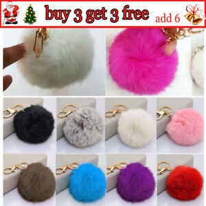 Soft Faux Fluffy Rabbit Fur Ball PomPom Car Keychain Handbag Keyring With Tassel