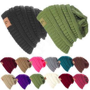 Unisex-Knitted-Skull-Messy-Slouchy-Baggy-Beanie-Oversize-Winter-Hat-Ski-Cap