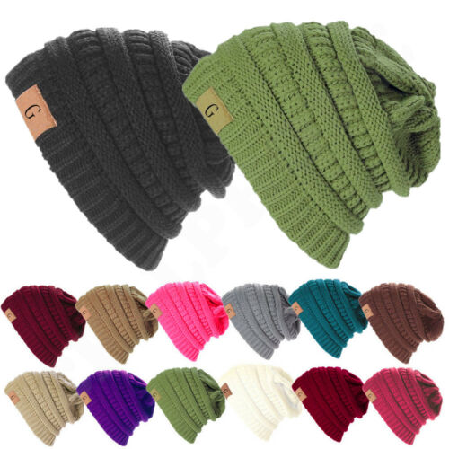 Unisex Knitted Skull Messy Slouchy Baggy Beanie Oversize Winter Hat Ski Cap