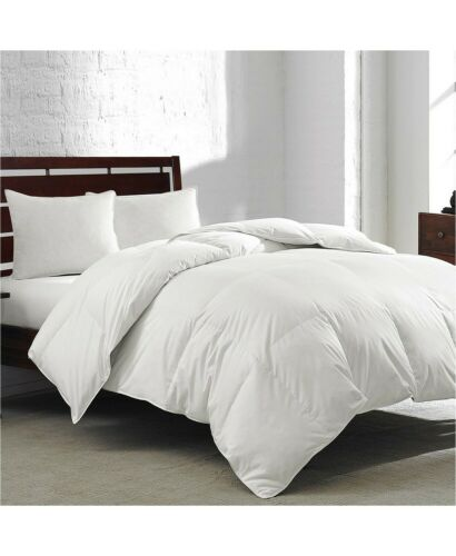 Royal Luxe KING Feather & Down Comforter Overfilled White Goose 240 TC J06167
